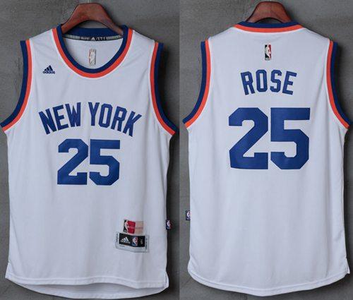Knicks #25 Derrick Rose New White Stitched NBA Jersey