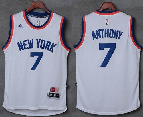 Knicks #7 Carmelo Anthony New White Stitched NBA Jersey