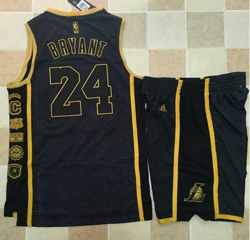 Lakers #24 Kobe Bryant Black Serpentine Retirement Memorial A Set Stitched NBA Jersey