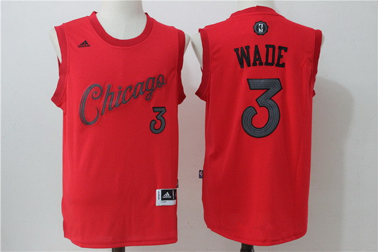 Men's Chicago Bulls #3 Dwyane Wade adidas Red 2016 Christmas Day Stitched NBA Swingman Jersey