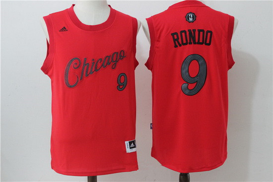 Men's Chicago Bulls #9 Rajon Rondo adidas Red 2016 Christmas Day Stitched NBA Swingman Jersey