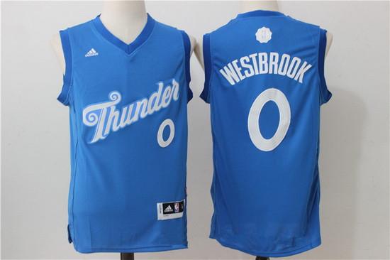 Men's Oklahoma City Thunder #0 Russell Westbrook adidas Blue 2016 Christmas Day Stitched NBA Swingman Jersey