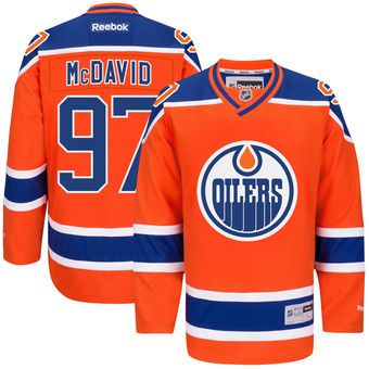 Men's Edmonton Oilers #91 Connor McDavid Reebok Orange Alternate Premier Jersey