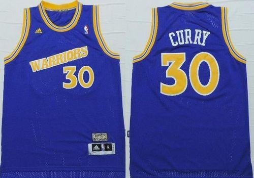 Golden State Warrlors #30 Stephen Curry Blue Throwback  Stitched NBA Jersey