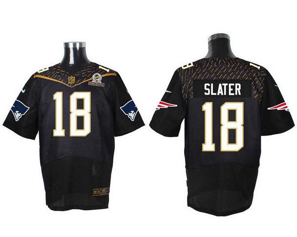 Men's New England Patriots #18 Matthew Slater Black 2016 Pro Bowl Nike Elite Jersey