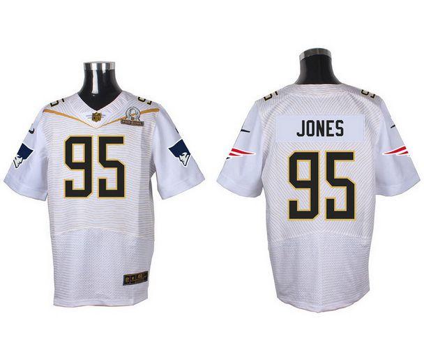 Men's New England Patriots #95 Chandler Jones White 2016 Pro Bowl Nike Elite Jersey