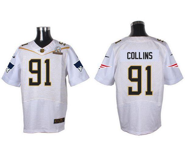 Men's New England Patriots #91 Jamie Collins White 2016 Pro Bowl Nike Elite Jersey