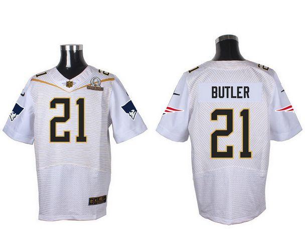 Men's New England Patriots #21 Malcolm Butler White 2016 Pro Bowl Nike Elite Jersey