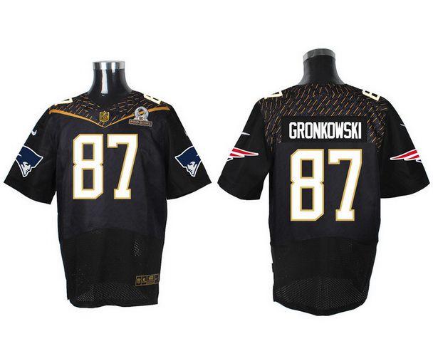 Men's New England Patriots #87 Rob Gronkowski Black 2016 Pro Bowl Nike Elite Jersey