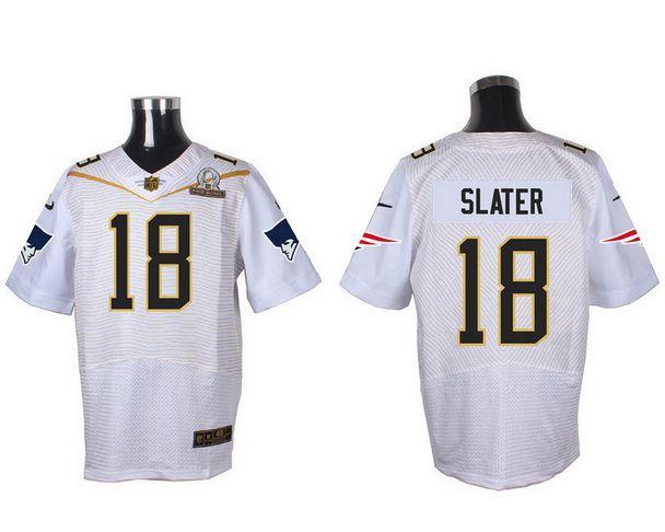 Men's New England Patriots #18 Matthew Slater White 2016 Pro Bowl Nike Elite Jersey