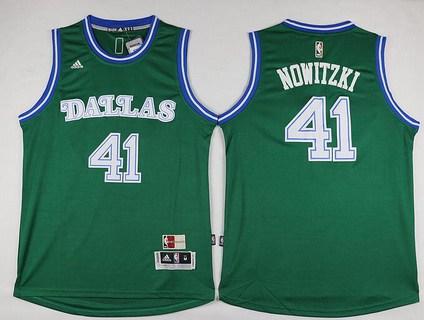 Men's Dallas Mavericks #41 Dirk Nowitzki Revolution 30 Swingman 2015-16 Green Jersey