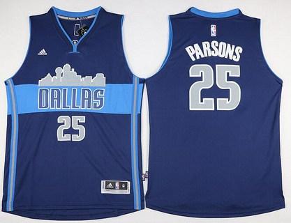 Men's Dallas Mavericks #25 Chandler Parsons Revolution 30 Swingman The City Navy Blue Jersey