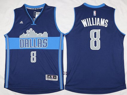 Men's Dallas Mavericks #8 Deron Williams Revolution 30 Swingman The City Navy Blue Jersey