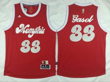 Men's Memphis Grizzlies #33 Marc Gasol Revolution 30 Swingman 2015-16 Retro Red Jersey