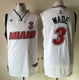 Men's Miami Heat #3 Dwyane Wade Revolution 30 Swingman 2015-16 Retro White Jersey