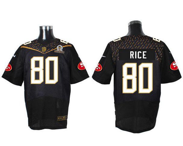 Men's San Francisco 49ers #80 Jerry Rice Black 2016 Pro Bowl Nike Elite Jersey