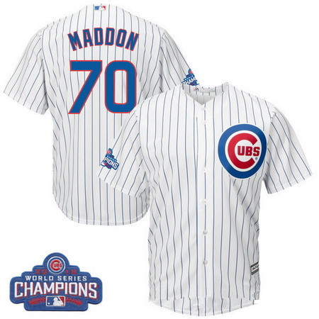Men's Chicago Cubs #70 Joe Maddon Majestic White Home 2016 World Series Champions Team Logo Patch Jersey