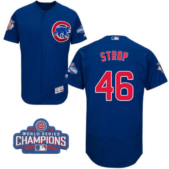 Men's Chicago Cubs #46 Pedro Strop Royal Blue Majestic Flex Base 2016 World Series Champions Patch Jersey
