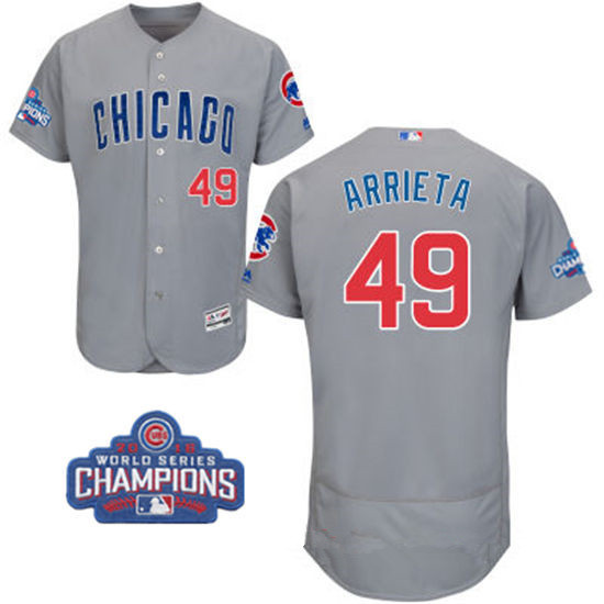 Men's Chicago Cubs #49 Jake Arrieta Gray Road Majestic Flex Base 2016 World Series Champions Patch Jersey