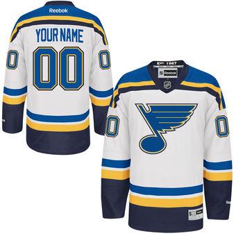 Mens St. Louis Blues Reebok White Premier Away Custom Jersey
