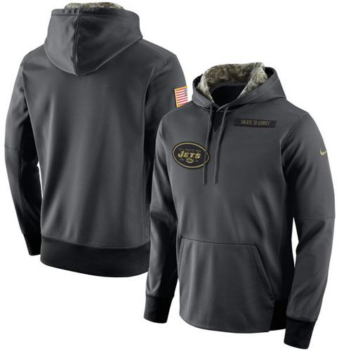 Men's New York Jets Nike Anthracite Salute to Service Player Performance Hoodie