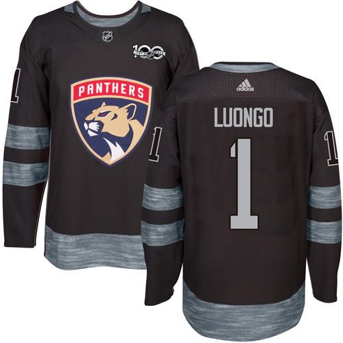 Panthers #1 Roberto Luongo Black 1917-2017 100th Anniversary Stitched NHL Jersey