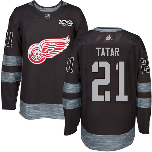Red Wings #21 Tomas Tatar Black 1917-2017 100th Anniversary Stitched NHL Jersey