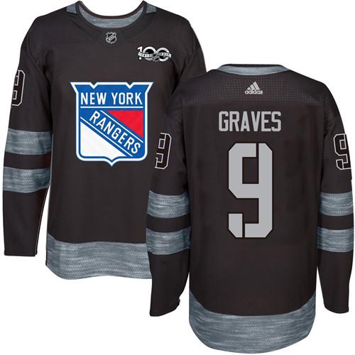 Men's York Rangers #9 Adam Graves Black 1917-2017 100th Anniversary Stitched NHL Jersey