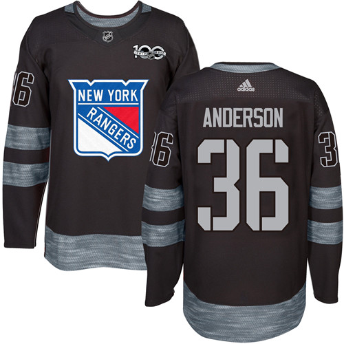 Men's York Rangers #36 Glenn Anderson Black 1917-2017 100th Anniversary Stitched NHL Jersey
