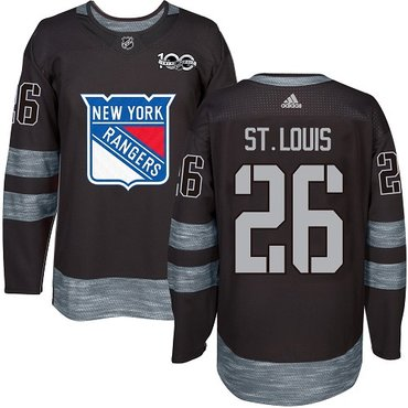 Men's York Rangers #26 Martin St.Louis Black 1917-2017 100th Anniversary Stitched NHL Jersey
