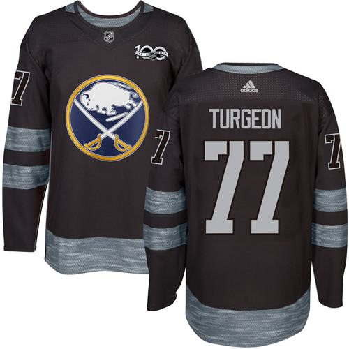 Sabres #77 Pierre Turgeon Black 1917-2017 100th Anniversary Stitched NHL Jersey