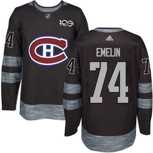 Canadiens #74 Alexei Emelin Black 1917-2017 100th Anniversary Stitched NHL Jersey