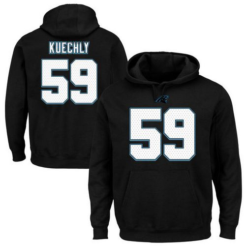 Panthers #59 Luke Kuechly Black Majestic Eligible Receiver II Name & Number NFL Hoodie