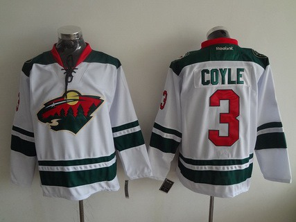 Men's Minnesota Wild #3 Charlie Coyle Reebok White Away Premier Hockey Jersey