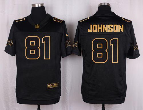 Nike Lions #81 Calvin Johnson Black Men's Stitched NFL Elite Pro Line Gold Collection Jersey