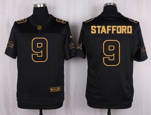 Nike Lions #9 Matthew Stafford Black Men's Stitched NFL Elite Pro Line Gold Collection Jersey