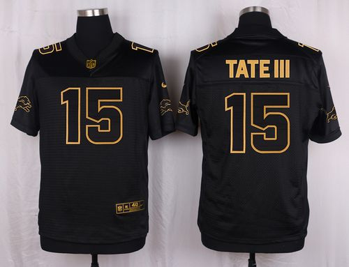 Nike Lions #15 Golden Tate III Black Men's Stitched NFL Elite Pro Line Gold Collection Jersey
