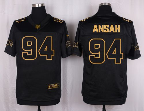 Nike Lions #94 Ziggy Ansah Black Men's Stitched NFL Elite Pro Line Gold Collection Jersey