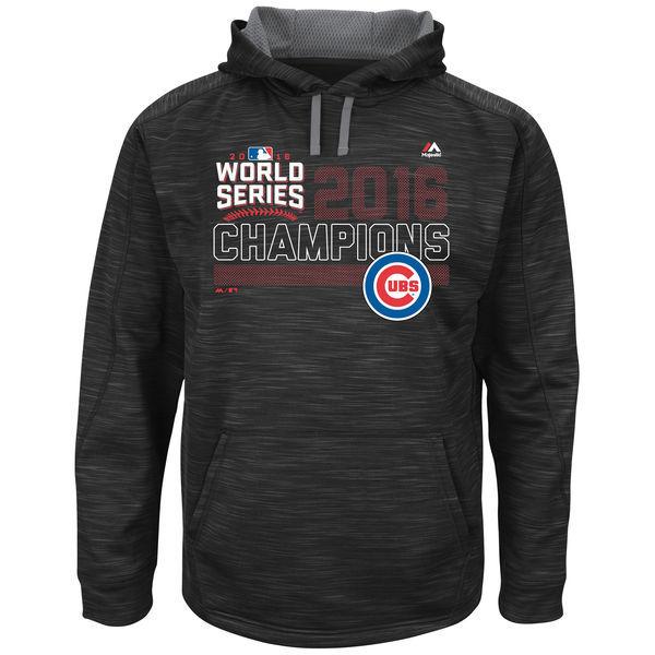 Chicago Cubs Black 2016 World Series Champions Fierce Streak Fleece Men's Pullover Hoodie