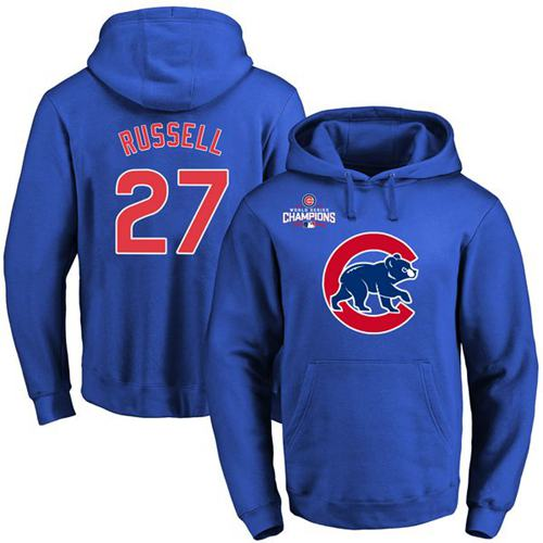 Cubs #27 Addison Russell Blue 2016 World Series Champions Primary Logo Pullover MLB Hoodie