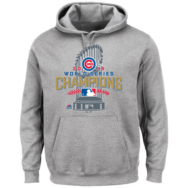 Chicago Cubs Heathered Gray Big & Tall 2016 World Series Champions Locker Room Men's Pullover Hoodie