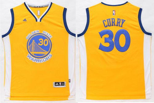 Warriors #30 Stephen Curry Gold Stitched NBA Jersey