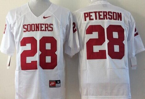 Men's Oklahoma Sooners #28 Adrian Peterson White College Football Nike Jersey