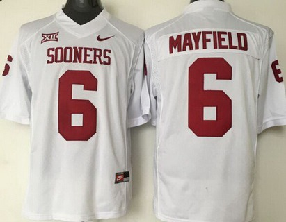 Men's Oklahoma Sooners #6 Baker Mayfield White College Football Nike Jersey