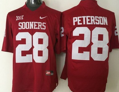 Men's Oklahoma Sooners #28 Adrian Peterson Red College Football Nike Jersey