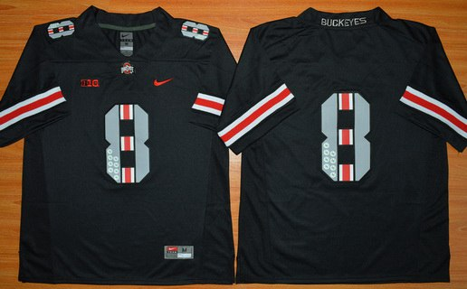 Men's Ohio State Buckeyes 8th Championship Commemorative Blackout 2015 NCAA Football Jersey