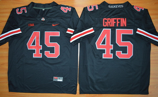 Men's Ohio State Buckeyes #45 Archie Griffin Black With Red 2015 College Football Nike Limited Jersey