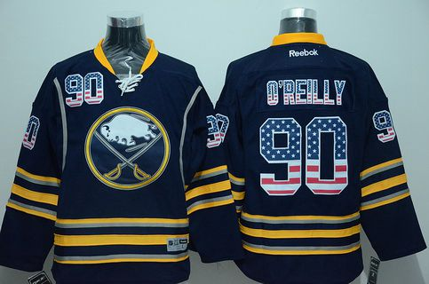 Men's Buffalo Sabres #90 Ryan O'Reilly Reebok Navy Blue USA Flag Hockey Jersey