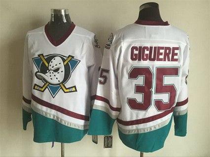 Mighty Ducks Of Anaheim #35 Jean-Sebastien Giguere 1995-96 White CCM Vintage Throwback Jersey