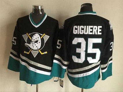 Mighty Ducks Of Anaheim #35 Jean-Sebastien Giguere 1995-96 Black CCM Vintage Throwback Jersey